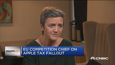 CNBC's Sara Eisen speaks with Margrethe Vestager, European Commission, about Apple's intellectual property and Tim Cook's criticism of the Apple tax ruling.