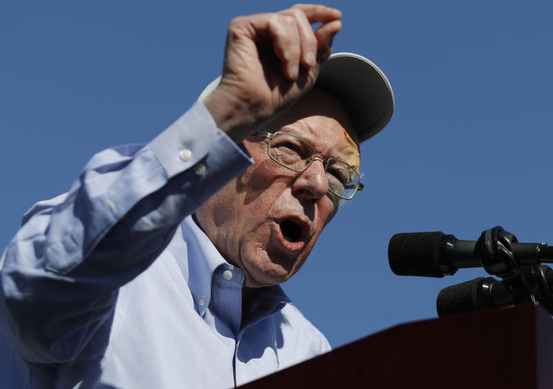 FILE - In this March 16, 2019 photo, Democratic presidential candidate Sen. Bernie Sanders speaks at a rally in Henderson, Nev. Sanders spent much of 2016 talking of revolution. In 2019, he's turned to a subject that's a bit more pragmatic: electability. (AP Photo/John Locher)