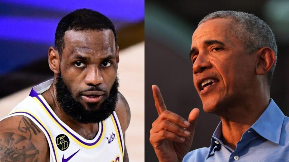 "LeBron James of the Los Angeles Lakers and former President Barack Obama sat down for an interview as part of James' <br>""More Than a Vote"" initiative, which has helped register tens of thousands of voters and poll workers. <br>(Photos by Douglas P. DeFelice/Getty Images and Michael M. Santiago/Getty Images)"