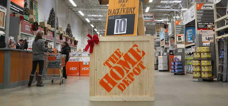 The Home Depot printed on a wooden crate in a store.