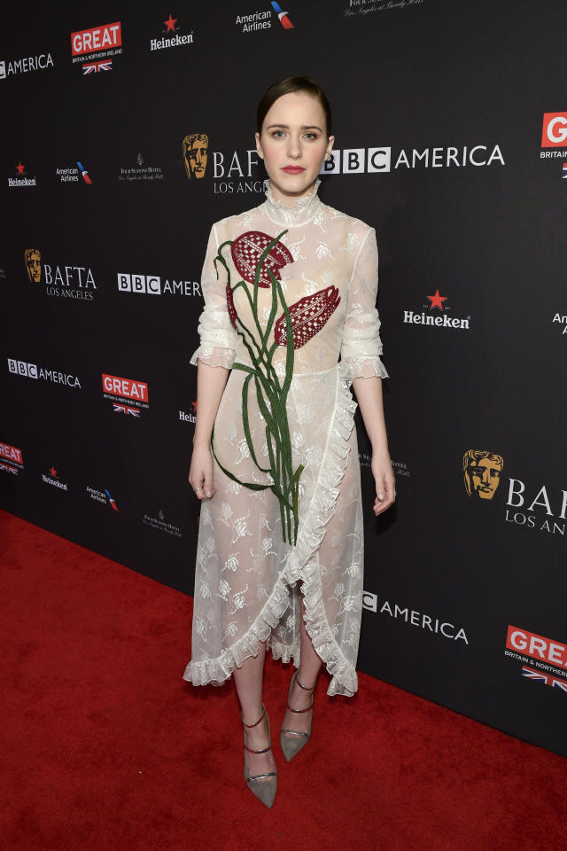 Rachel Brosnahan at the BAFTA Tea Party. (Photo: Getty Images)