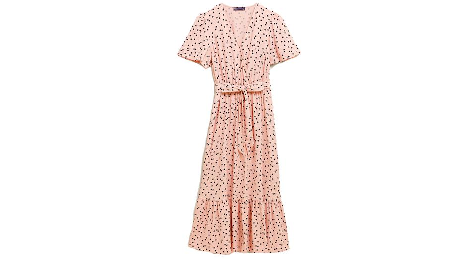 Polka Dot Angel Sleeve Midi Wrap Dress