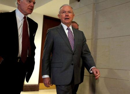 Sessions departs from a closed door interview with the House Intelligence Committee on Capitol in Washington