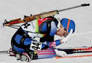 Olga Pyleva is a former Russian biathlete who won the silver medal in the 15-kilometer individual race at the 2006 Turin Games. She's also a convicted drug user after testing positive for a banned stimulant during the games and retroactively losing her medal. (AP Photo/Michael Probst)