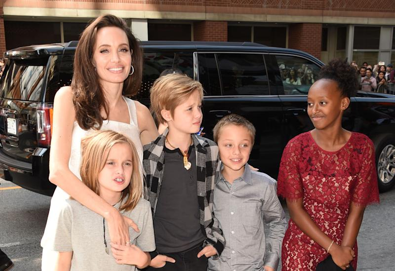 Angelina Jolie pictured with four of her six children in 2017 (Getty Images)