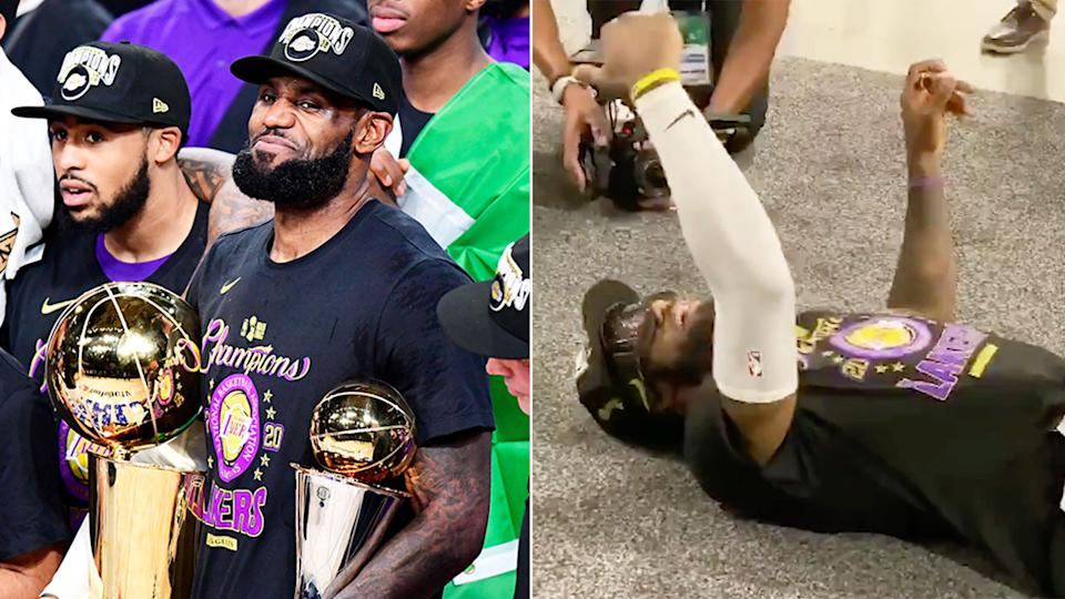 Pictured here, LeBron James FaceTimed his mum after helping the Lakers win the NBA championship.