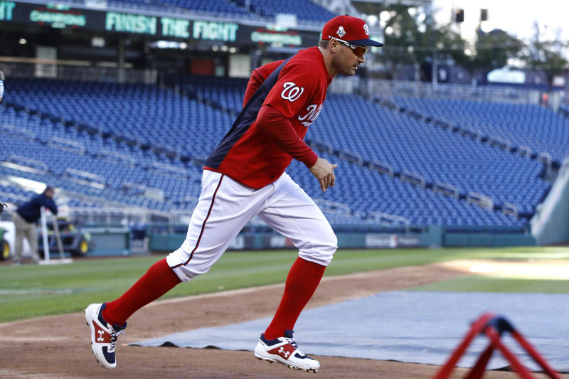 Washington Nationals first baseman Ryan Zimmerman participates in a baseball workout, Friday, Oct. 18, 2019, in Washington, in advance of the team's appearance in the World Series. (AP Photo/Patrick Semansky)