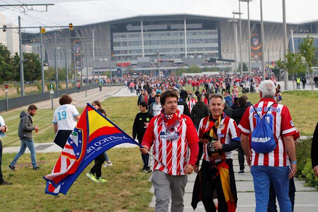 Soccer Football - Europa League Final - Olympique de Marseille vs Atletico Madrid - Lyon, France - May 16, 2018 Atletico Madrid fans outside the stadium before the match REUTERS/Denis Balibouse