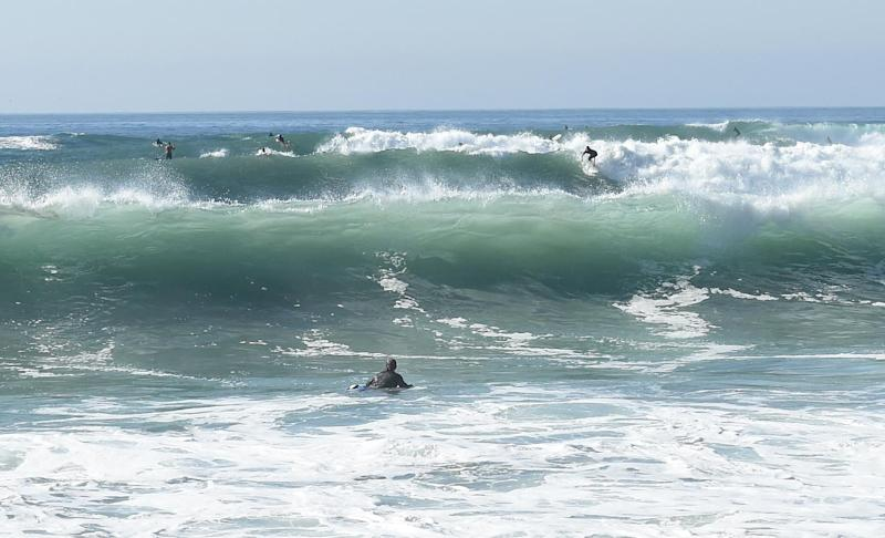 Huge swells are seen from Malibu beach in California, on August 27, 2014