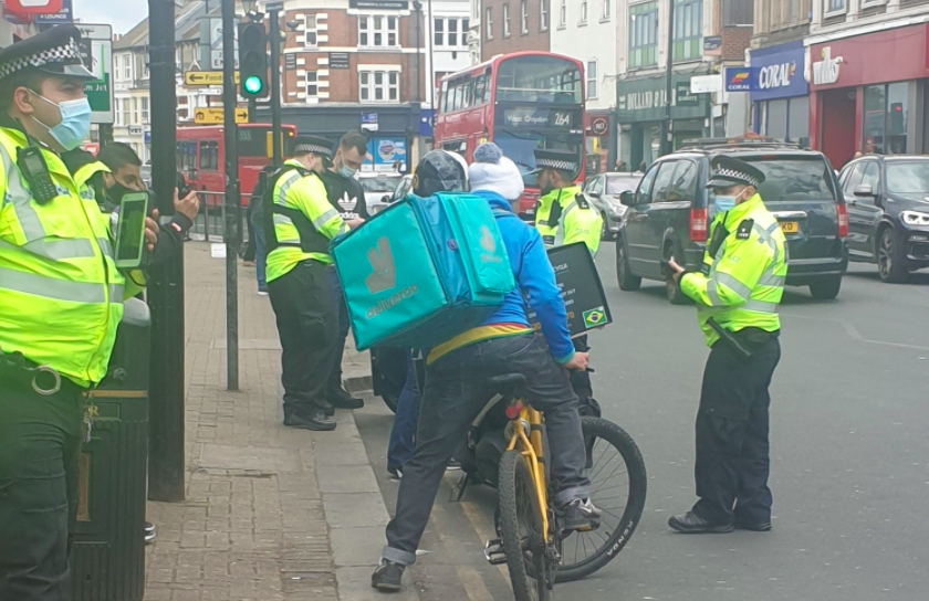 Police stopped delivery drivers during a 90-minute operation in Tooting. (Twitter/@MPSRTPC)