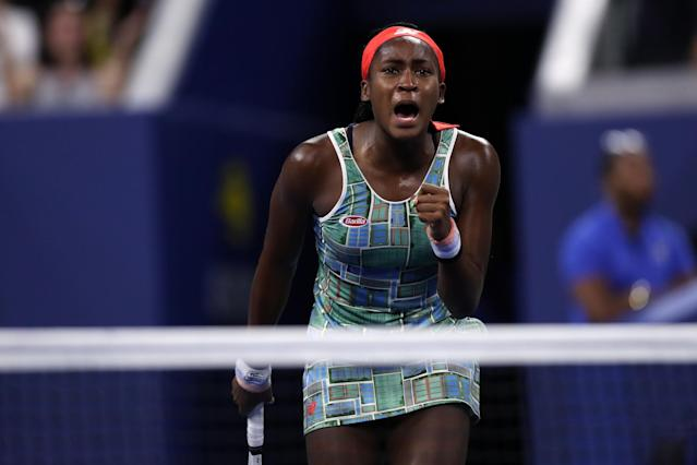"""Cori """"Coco"""" Gauff beat <a class=""""link rapid-noclick-resp"""" href=""""/olympics/rio-2016/a/1177151/"""" data-ylk=""""slk:Timea Babos"""">Timea Babos</a> of Hungary on Thursday night to advance to the third round of the US Open in New York. (Matthew Stockman/Getty Images)"""