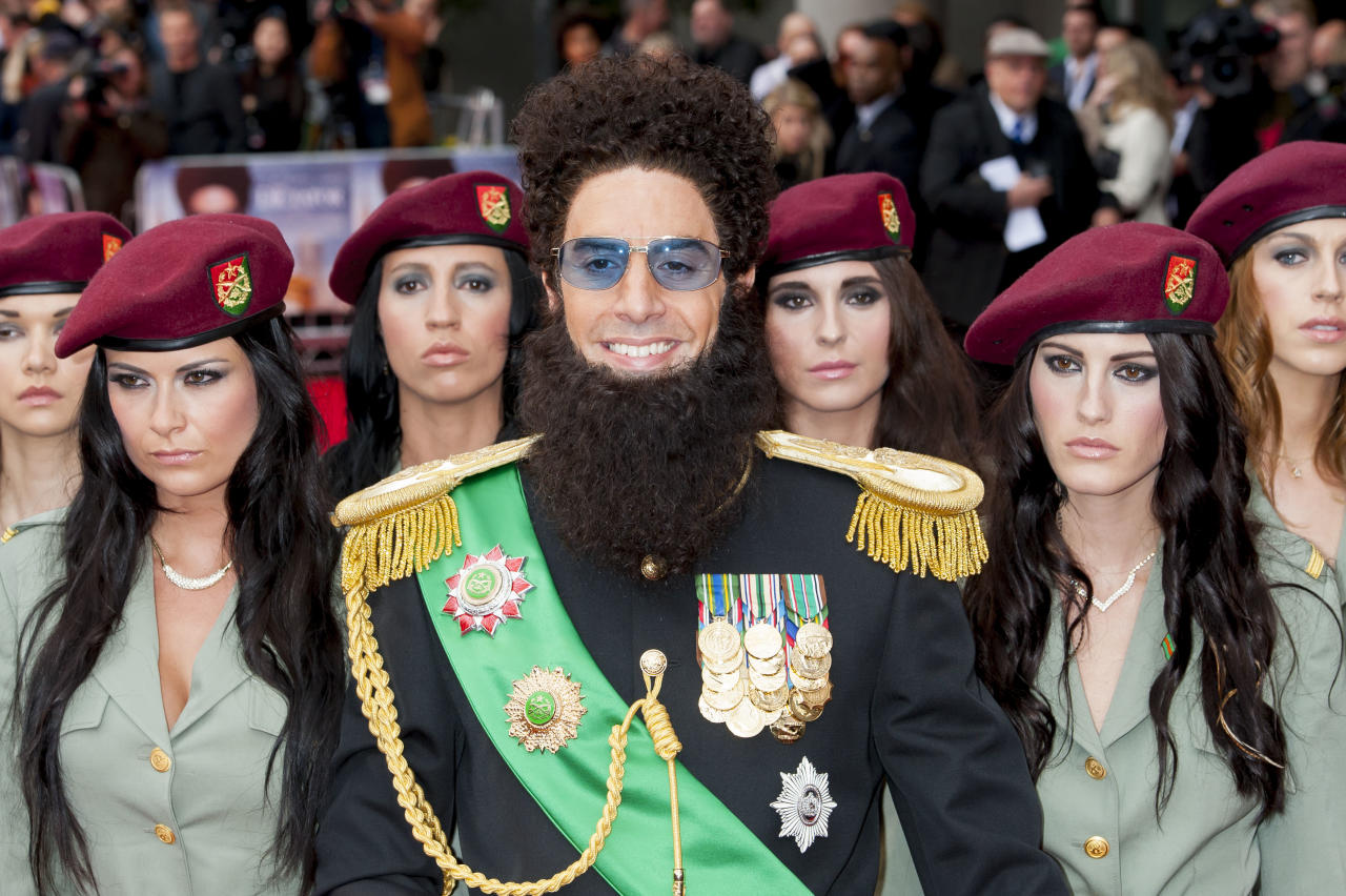 British actor Sacha Baron Cohen, arrives for the World Premiere of 'The Dictator', at a central London cinema, Thursday, May 10, 2012. (AP Photo/Jonathan Short)