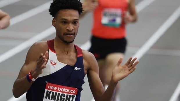 Toronto's Justyn Knight ran a personal-best 3:35.85 outdoors over 1,500 metres at the USATF Grand Prix on Saturday, the fastest time by a Canadian this year that ranks 15th on the all-time national list for men. (Al Bello/Getty Images/File - image credit)
