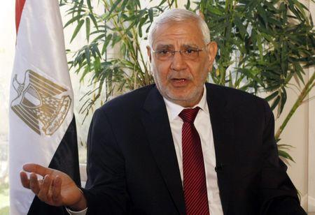 Former presidential candidate Abol Fotouh speaks during an interview in Cairo