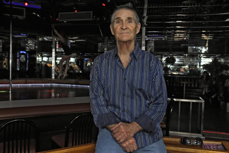 "In this Aug. 16, 2012 photo, owner Joe Redner poses for a photo at his ""Mons Venus"" adult club in Tampa, Fla. The club _ located less than 6 miles from where the Republicans will gather to nominate former Massachusetts Gov. Mitt Romney as their presidential candidate _ was opened 30 years ago by Redner, who almost single-handedly made Tampa's adult entertainment world famous. (AP Photo/Chris O'Meara)"