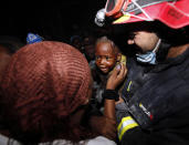 <p>Two year old Redjeson Hausteen Claude reacts to his mother Daphnee Plaisin, after he is rescued from a collapsed home by Belgian and Spanish rescuers in the aftermath of the powerful earthquake in Port-au-Prince, Thursday, Jan. 14, 2010. (Photo: Gerald Herbert/AP) </p>