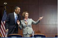 <p>Pelosi with Obama at the Capitol in 2010.</p>