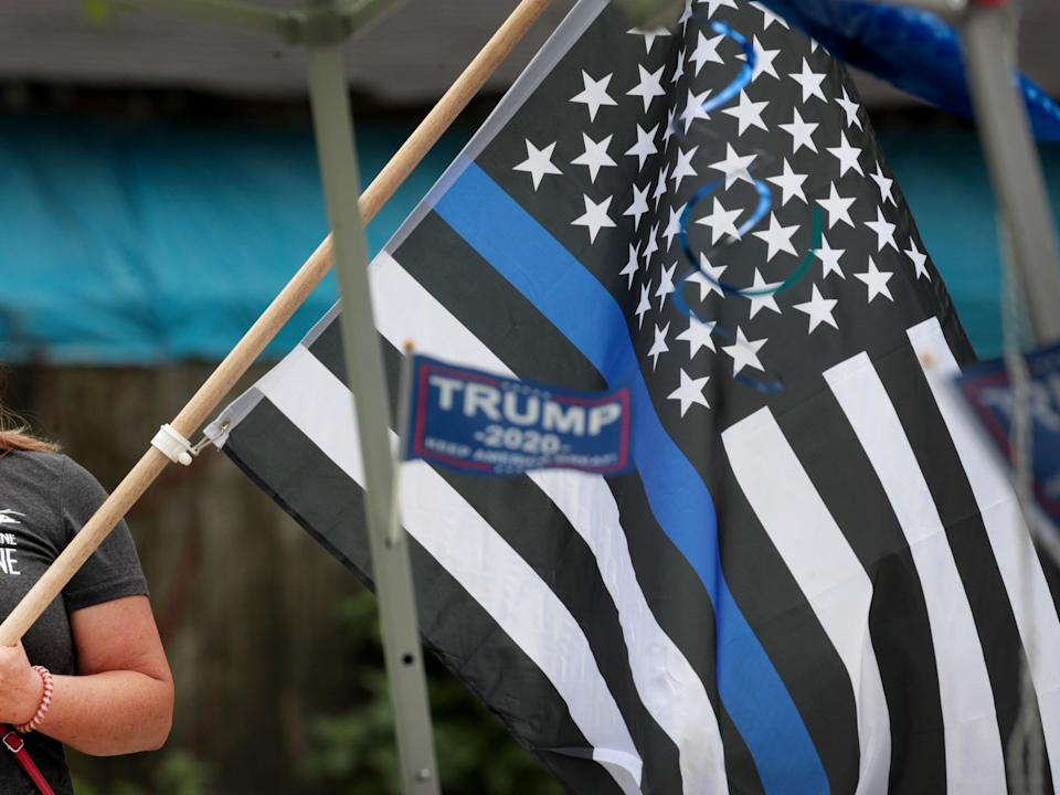 """A flag at a """"Back the Blue"""" rally near the Homan Square police station on August 15, 2020 in Chicago, Illinois (Getty Images)"""