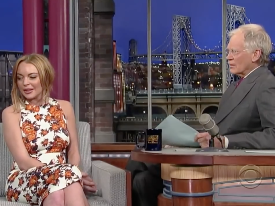 Lindsay Lohan appears on David Letterman's talk show in 2013 (CBS Television)
