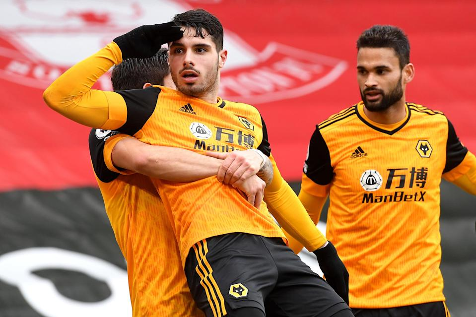 Pedro Neto celebrates after scoring Wolves' winning goal (Getty)