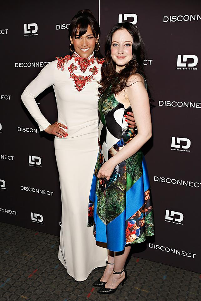 """NEW YORK, NY - APRIL 08:  Actresses Paula Patton and Andrea Riseborough attend the""""Disconnect"""" New York Special Screening at SVA Theater on April 8, 2013 in New York City.  (Photo by Cindy Ord/Getty Images)"""