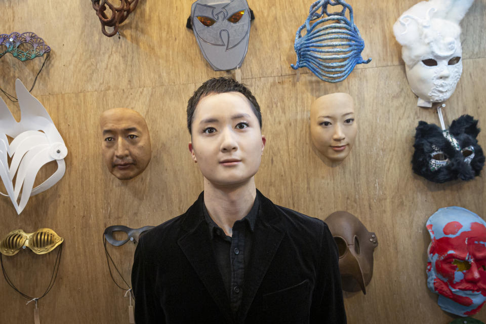TOKYO, JAPAN - JANUARY 28: Shuhei Okawara, owner of mask shop Kamenya Omote, wearing Hyper-realistic face mask poses for a portrait  on January 28, 2021 in Tokyo, Japan. The masks, made by Japanese retailer Kamenya Omote, are modelled on actual people who are paid 40,000 Yen for the right to use their face and are created on a 3D printer before being sold for up to 98,000 Yen. Although providing quite a party piece, unfortunately they don't offer protection from coronavirus. (Photo by Yuichi Yamazaki/Getty Images)