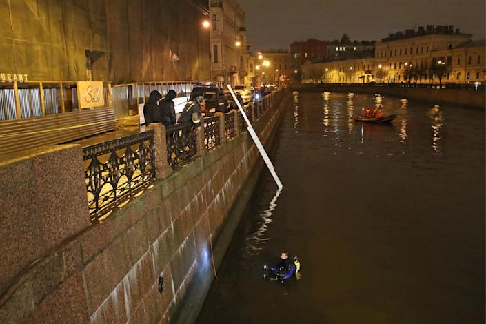 Prof Sokolov was pulled from the river in the early hours of Saturday (Picture: Alexander Demianchuk\TASS via Getty Images)