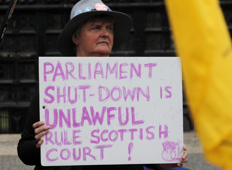 A Pro EU protestor shows a poster in front of the Houses of Parliament entrance in London, Wednesday, Sept. 11, 2019.(AP Photo/Frank Augstein)