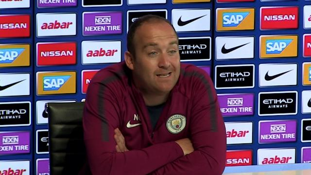 Manchester City Ladies manager Nick Cushing pre match press conference v Lyon in UWCL