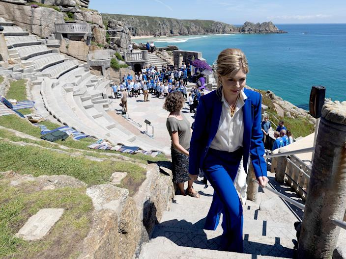Carrie Johnson at a performance of 'Ocean World' at the Minack Theatre, Porthcurno, on Saturday (Simon Dawson/No10)
