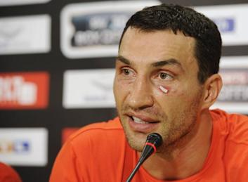 IBF,WBO and new WBA champion Klitschko of Ukraine attends a news conference after his title fight with British boxer Haye in Hamburg
