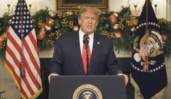 Donald Trump appears in a video to denounce Covid relief bill (Donald Trump / Twitter)