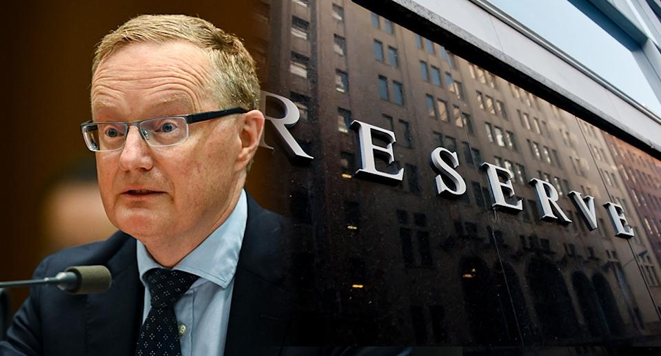 RBA governor Philip Lowe and Reserve Bank signage on the exterior of the building