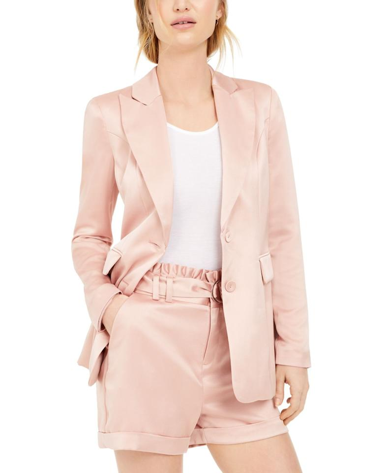 """<p><strong>Bar III</strong></p><p>macys.com</p><p><strong>$35.82</strong></p><p><a href=""""https://go.redirectingat.com?id=74968X1596630&url=https%3A%2F%2Fwww.macys.com%2Fshop%2Fproduct%2Fbar-iii-satin-boyfriend-blazer-created-for-macys%3FID%3D10500428&sref=https%3A%2F%2Fwww.goodhousekeeping.com%2Fbeauty%2Ffashion%2Fg31811906%2Fcute-summer-outfits%2F"""" target=""""_blank"""">Shop Now</a></p><p>A pastel blazer replaces your boring navy classic. Pair it with a tee shirt and jeans, or look like a boss with white pants and a pretty blouse underneath.</p>"""