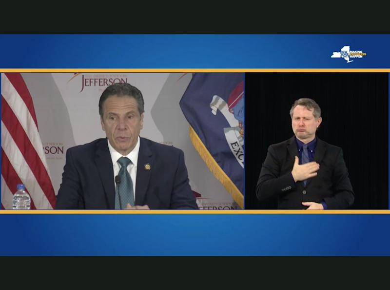 In May, New York Gov. Andrew Cuomo (D) finally began providing an on-screen American Sign Language interpreter for his widely watched daily COVID-19 briefings. (Photo: Screenshot/New York Gov. Andrew Cuomo's website)