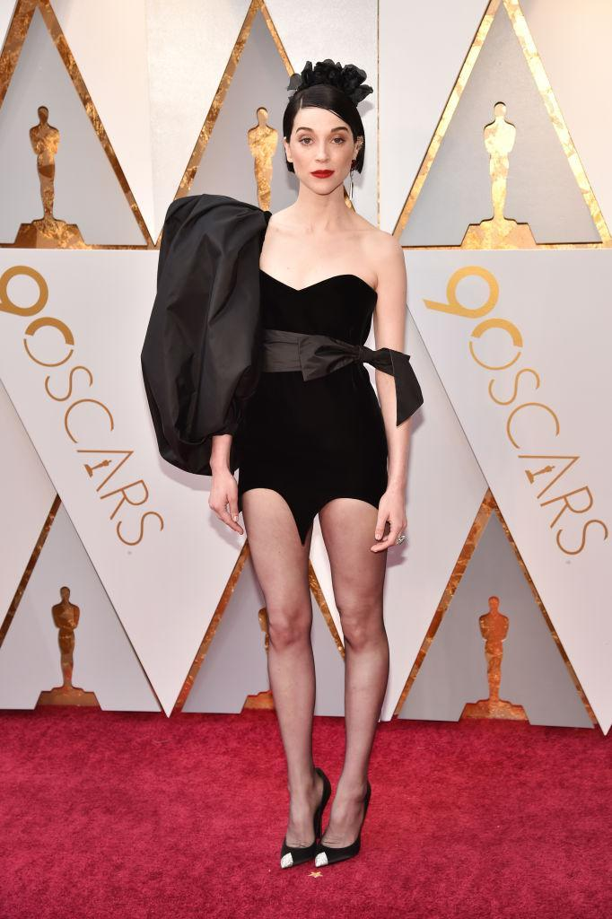<p>Annie Clark of St. Vincent attends the 90th Annual Academy Awards at Hollywood & Highland Center on March 4, 2018 in Hollywood, California. (Photo by Kevin Mazur/WireImage) </p>