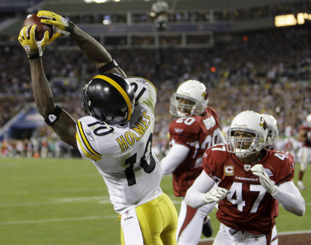 Santonio Holmes's touchdown grab late in the fourth quarter of Super Bowl XLIII denied the Cardinals their first championship. (AP)