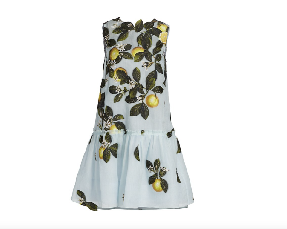 """<p><strong>Oscar de la Renta</strong></p><p>saksfifthavenue.com</p><p><strong>$3490.00</strong></p><p><a href=""""https://go.redirectingat.com?id=74968X1596630&url=https%3A%2F%2Fwww.saksfifthavenue.com%2Fproduct%2Foscar-de-la-renta-citrus-primavera-ruffle-hem-shift-dress-0400013382998.html&sref=https%3A%2F%2Fwww.townandcountrymag.com%2Fsociety%2Ftradition%2Fg36533762%2Flemon-print-fashion-royals-meghan-markle%2F"""" rel=""""nofollow noopener"""" target=""""_blank"""" data-ylk=""""slk:Shop Now"""" class=""""link rapid-noclick-resp"""">Shop Now</a></p><p>Of course, we must start with Meghan Markle's actual dress. This basically screams garden party and, better yet, Meghan wore it as a maternity dress. </p>"""