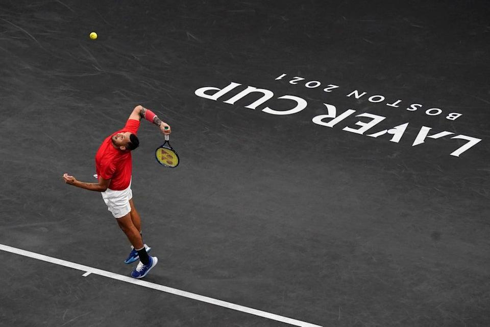 Nick Kyrgios hits a serve during the Laver Cup in Boston (Elise Amendola/AP) (AP)