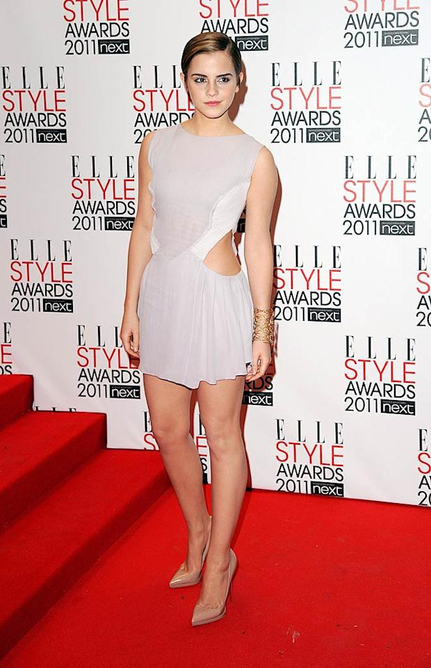"Fellow Brit Emma Watson also looked lovely on the red carpet this week. The ""Harry Potter"" hottie was dressed to impress in a daring Hakaan number, nude Louboutins, and gold cuff at the annual <i>Elle</i> Style Awards. Eamonn McCormack<a href=""http://www.wireimage.com"" target=""new"">WireImage.com</a> - February 14, 2011"