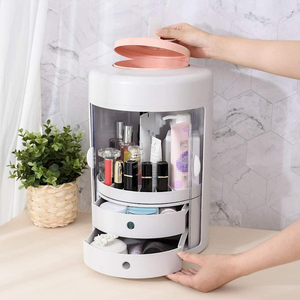 <p>The <span>Inner 360-Degree Rotating Cosmetic Storage Box</span> ($66) is perfect for storing your everyday products and tools. It has a removable storage box, nine rotating compartments with a waterproof and dust-proof plastic door, and two large-capacity drawers. It's great for your vanity or for dorms.</p>
