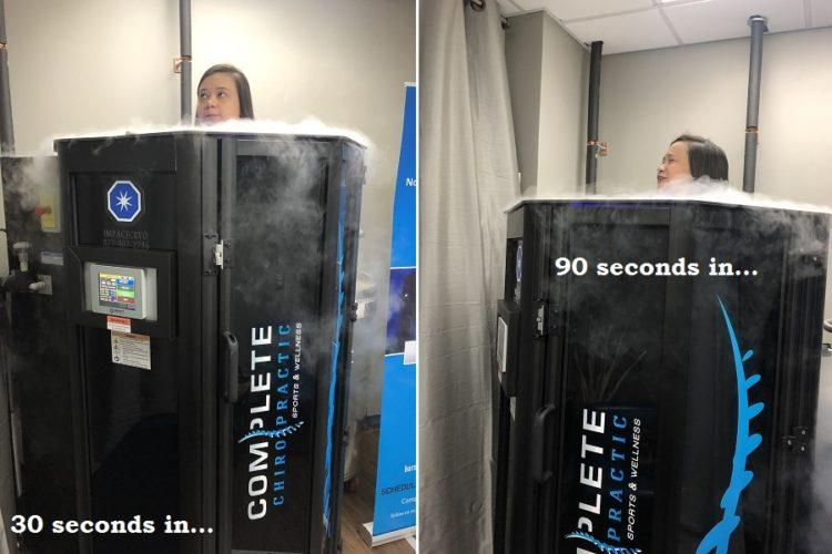 woman standing in cryotherapy tank