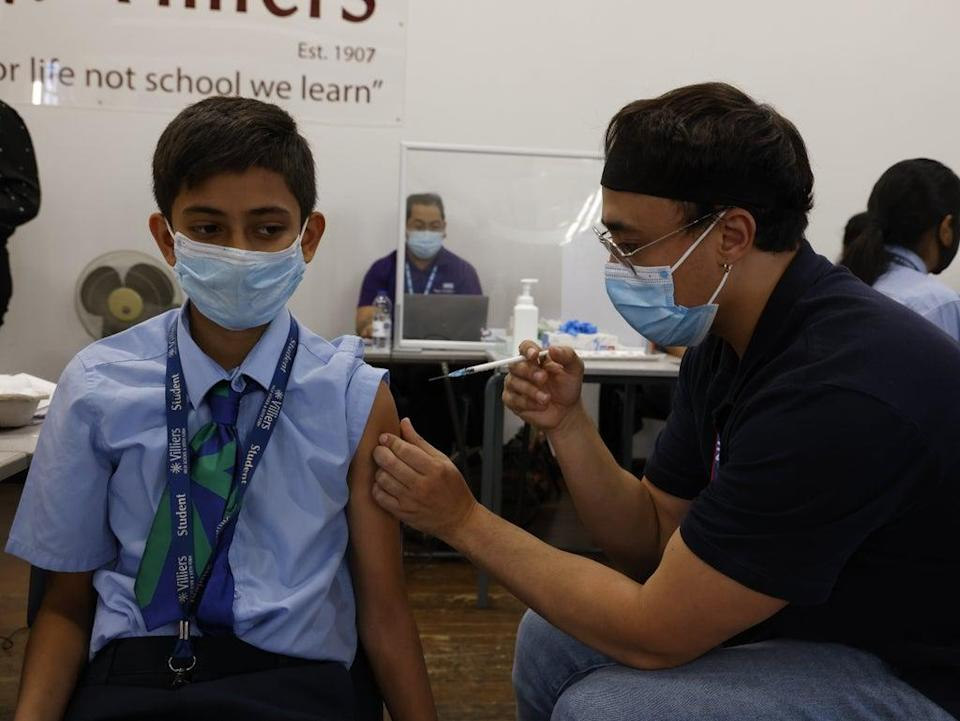 Vaccine is rolled out to pupils aged 12-15 here at Villiers School in Southall, west London (Nigel Howard)