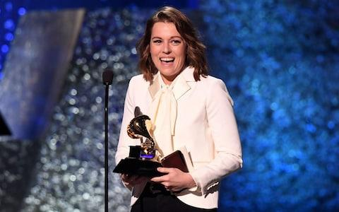 "Brandi Carlile accepts the award for American Roots Performance for ""The Joke"" onstage during the 61st Annual Grammy Awards pre-telecast show  - Credit: AFP"