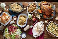 """<p>Whether you're hosting Thanksgiving dinner for the first time or you've been doing it for years, assembling the holiday menu can be a chore. You need to choose the <a href=""""https://www.countryliving.com/food-drinks/g908/stuffing-recipes/"""" rel=""""nofollow noopener"""" target=""""_blank"""" data-ylk=""""slk:stuffing recipes"""" class=""""link rapid-noclick-resp"""">stuffing recipes</a>, <a href=""""https://www.countryliving.com/food-drinks/g2696/mashed-potato-recipes/"""" rel=""""nofollow noopener"""" target=""""_blank"""" data-ylk=""""slk:mashed potato recipes"""" class=""""link rapid-noclick-resp"""">mashed potato recipes</a>, and the <a href=""""https://www.countryliving.com/food-drinks/g1365/turkey-recipes/"""" rel=""""nofollow noopener"""" target=""""_blank"""" data-ylk=""""slk:turkey"""" class=""""link rapid-noclick-resp"""">turkey</a> (<em>if</em> your family eats meat)! This year, save yourself the hassle. We've put together nearly three dozen complete Thanksgiving menu ideas, with dishes designed to pair well together, so everything tastes great. Even Aunt Bessie will approve. Now all you have to do is choose the <a href=""""https://www.countryliving.com/food-drinks/g36940882/best-thanksgiving-wine/"""" rel=""""nofollow noopener"""" target=""""_blank"""" data-ylk=""""slk:best Thanksgiving wine"""" class=""""link rapid-noclick-resp"""">best Thanksgiving wine</a>. </p>"""