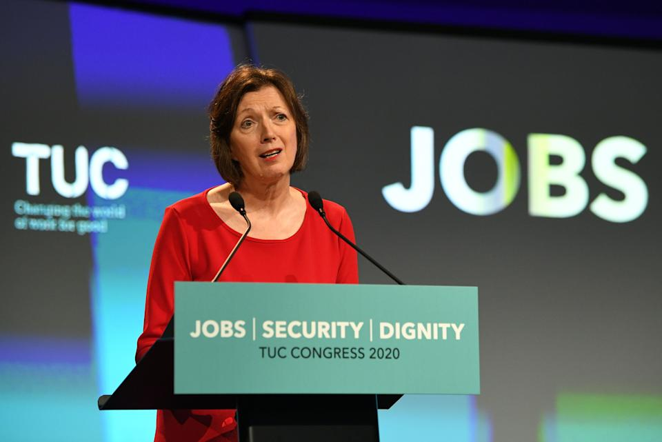 Frances O'Grady, General Secretary of the TUC speaking at the TUC's Congress in London. (Photo by Stefan Rousseau/PA Images via Getty Images) (Photo: Stefan Rousseau - PA Images via Getty Images)
