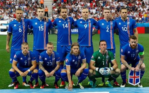 Iceland team before their 2-1 victory over England in Euro 2016 - Credit: Reuters