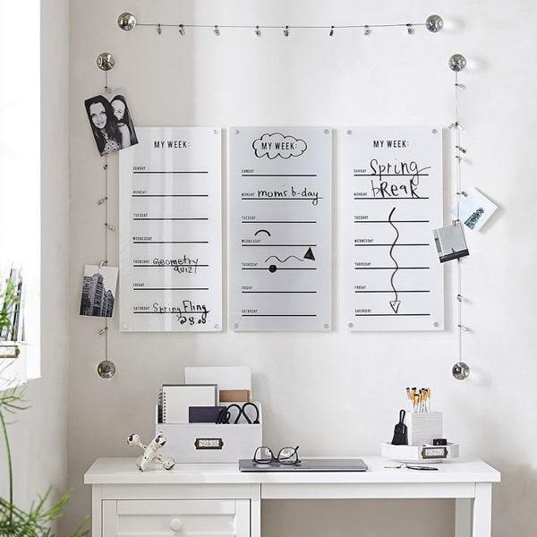 "Not a fan of pen or paper, but still want to keep track of short term reminders, then skip the planner and opt for an acrylic calendar you can place above your desk. For example, this dry-erase calendar from Pottery Barn Teen allows you to write away your weekly duties with a dry-erase pen and then wipe the slate clean. $69, Pottery Barn Teen. <a href=""https://www.pbteen.com/products/weekly-acrylic-calendar/?pkey=s%7Cplanner%7C5"" rel=""nofollow noopener"" target=""_blank"" data-ylk=""slk:Get it now!"" class=""link rapid-noclick-resp"">Get it now!</a>"