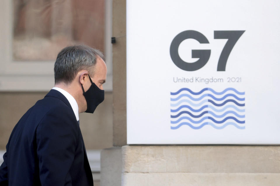 Britain's Foreign Secretary Dominic Raab arrives for a G7 foreign ministers' meeting, at Lancaster House in London, Britain, Wednesday, May 5, 2021. Diplomats from the group of wealthy nations are meeting in London for their first face-to-face gathering in two years. (Hannah McKay/Pool Photo via AP)