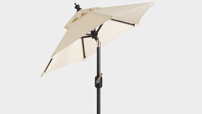 This tilting patio umbrella will keep you cool and protect you from the sun's harmful rays.